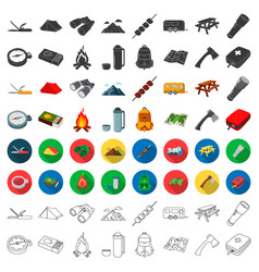 Camping set icons in cartoon style big collection vector
