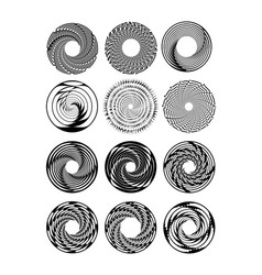 Circle design shape set in monochrome drawing vector