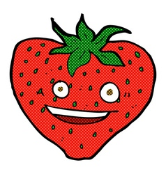 Comic cartoon strawberry vector