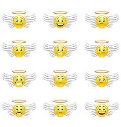 Cute emoticons angels vector image