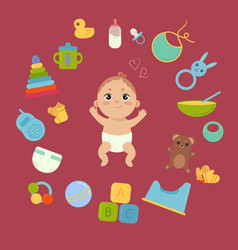 Cute little baby in diaper with newborn essentials vector