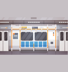 Empty subway car interior modern city public vector