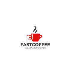 fast coffee logo template vector image