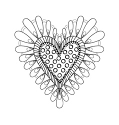Floral doodles heart in zentangle ornamental style vector