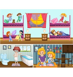 Four scenes of people in the house vector image vector image