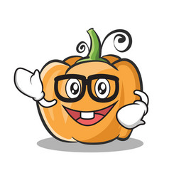 Geek pumpkin character cartoon style vector