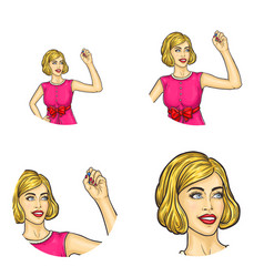 girl retro haircut drawing in air avatar vector image