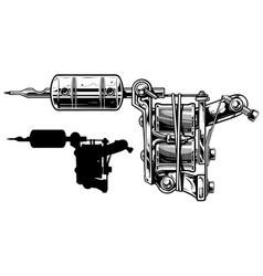Graphic black and white tattoo machine set vol 4 vector
