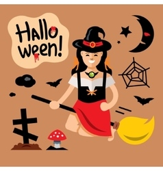 Halloween witch on broomstick cartoon vector