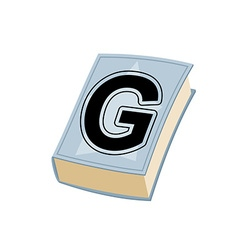 Letter g on cover of retro books concept of vector