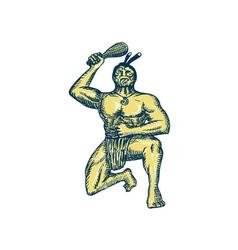 Maori warrior wielding patu kneeling etching vector