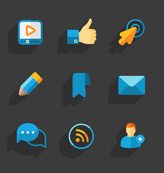 Modern colorful flat social icons vector