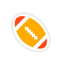 Paper sticker rugby ball on white background vector