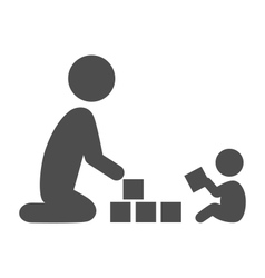 Parent plays with the baby pictogram flat icon vector image