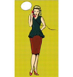 pop art of woman talking on vector image