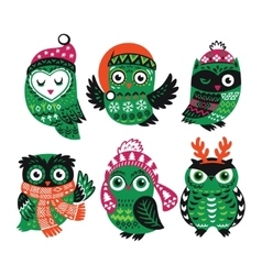 Set of funny owls for winter design vector image