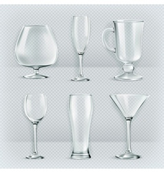 Set of transparent glasses goblets cocktail vector image vector image