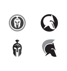 spartan helmet logo template icon design vector image