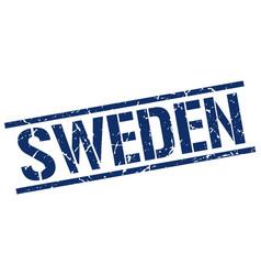 Sweden blue square stamp vector