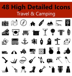 Travel and Camping Smooth Icons vector image