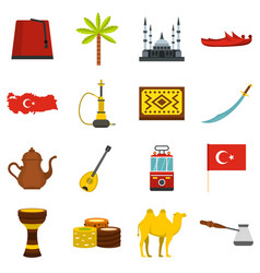 turkey travel icons set in flat style vector image vector image