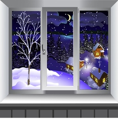 View from window of landscape winter vector