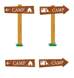 wooden camping sign vector image vector image