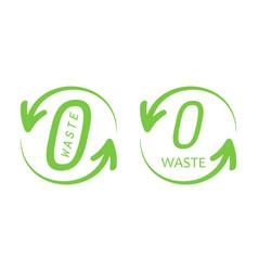 zero waste trendy green logos signs symbols vector image vector image
