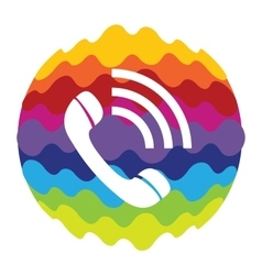 Phone rainbow color icon for mobile applications vector