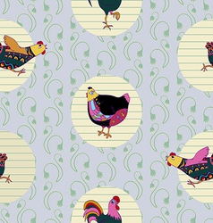Seamless baby pattern with hen and cock vector