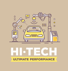 retro color of golden car high tech vector image