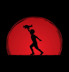 A boy running with plane toy graphic vector