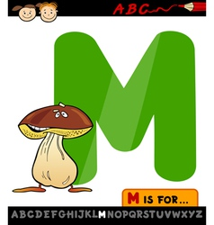 letter m with mushroom cartoon vector image