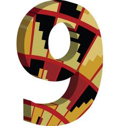3d font number 9 vector