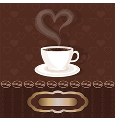 white cupful with coffee and steam heart vector image