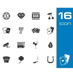Black casino icons set on white background vector