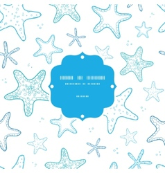Starfish blue line art frame seamless pattern vector