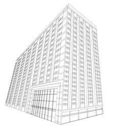 Residential wireframe building on a white vector