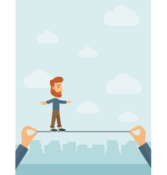 Businessman walking on wire vector