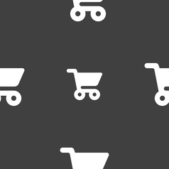 Shopping basket icon sign seamless pattern on a vector