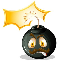 Bomb with angry face vector
