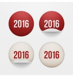 Set of realistic New Year white circle Stickers vector image