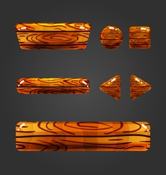 Set of wooden button for game design-5 vector