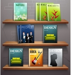 Magazines on shelves vector