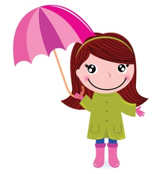 Cute little girl with umrella in rain vector