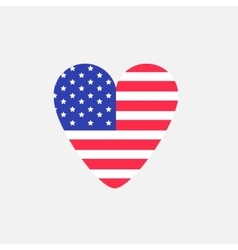 Big heart shape american flag Star and strip icon vector image