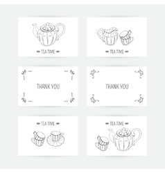 Business card set with tea service icons Doodle vector image vector image