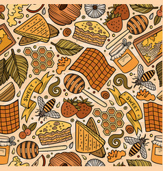 Cartoon cute honey seamless pattern vector
