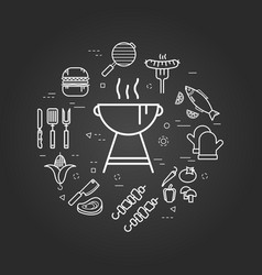 Charcoal grill on black vector