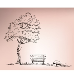 chire beside the tree vector image vector image